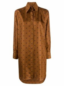 Fendi FF monogram shirt dress - Brown