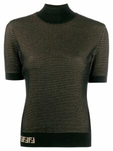 Fendi double-layer mesh-knit top - Black
