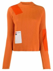 Heron Preston patchwork crew-neck sweater - ORANGE