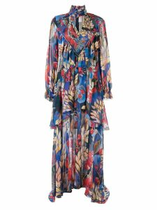 Peter Pilotto Georgette frill dress - Blue