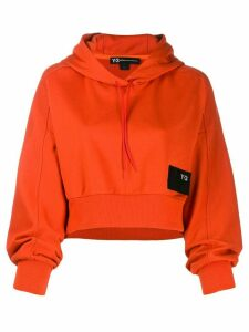 Y-3 logo-patch cropped hoodie - Orange