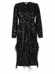 Huishan Zhang Evie sequin embroidery feather coat - Black