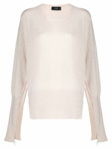 Maison Flaneur cashmere open sleeves jumper - White