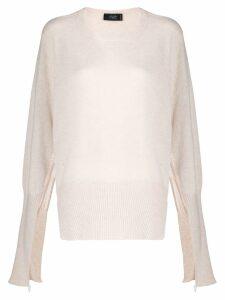 Maison Flaneur cashmere open sleeves jumper - White