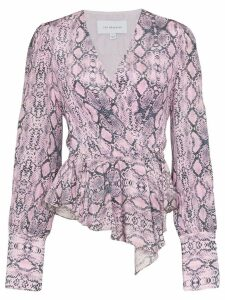 Les Rêveries draped snake-print blouse - PINK
