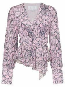 Les Rêveries draped snake-print blouse - PINK