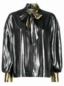 8pm pussy-bow flared blouse - SILVER