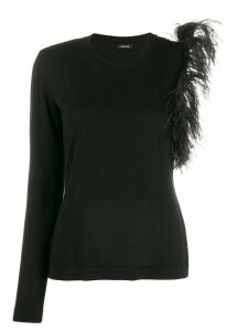 P.A.R.O.S.H. shoulder-feathers one-sleeve top - Black