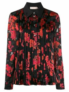 Tory Burch floral print pleated shirt - Black