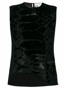 8pm asymmetric snakeskin print top - Black