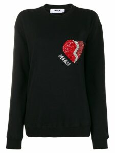 MSGM long sleeved embellished-heart sweater - Black