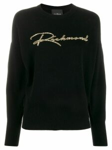 John Richmond sequin-embellished knitted jumper - Black
