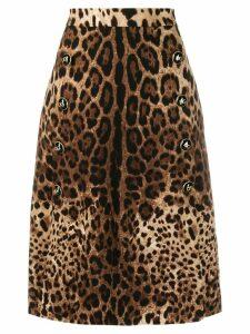 Dolce & Gabbana A-line leopard print skirt - Brown