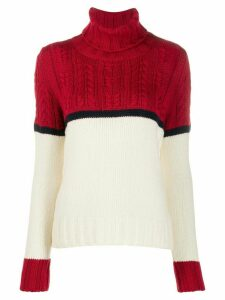 Zanone colour block cable knit jumper - White