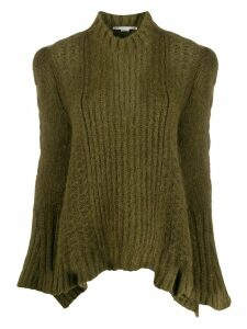 Stella McCartney rib-knit structured-shoulder sweater - Green