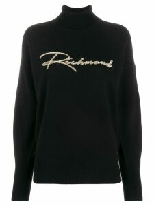 John Richmond sequin embroidered logo jumper - Black