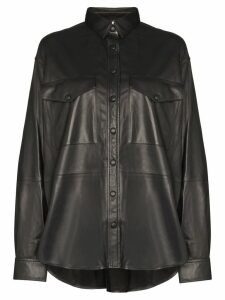 Totême Novella leather shirt - Black