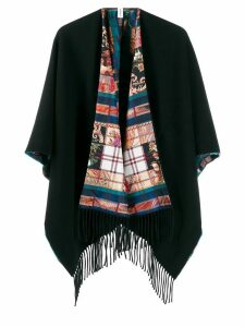 Salvatore Ferragamo fringed hem blanket cardigan - Blue