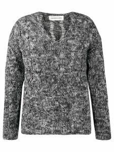 Lamberto Losani v-neck cable knit jumper - Grey