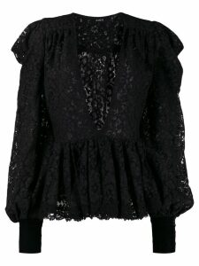 Amen plunging neck lace blouse - Black