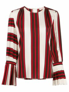 Tory Burch striped flare-sleeve blouse - White