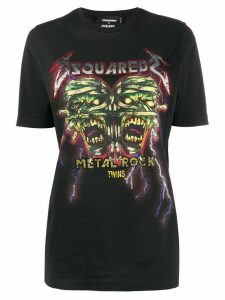Dsquared2 rhinestone embellished Rock print T-shirt - Black