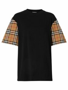 Burberry Vintage Check sleeve oversized T-shirt - Black