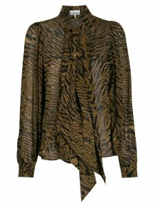 GANNI animal print blouse - Brown