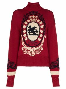 Etro intarsia logo turtleneck jumper - Red