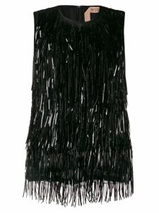 Nº21 beaded fringes top - Black