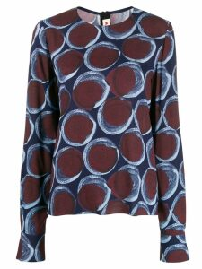 Marni printed longsleeved blouse - Blue