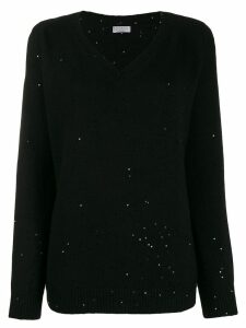Brunello Cucinelli V-neck sequin-embellished jumper - Black