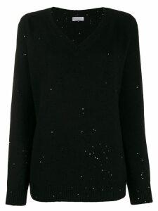 Brunello Cucinelli V-neck sequin-embellished jumper - Black