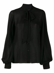 Nili Lotan pussy-bow loose-fit blouse - Black