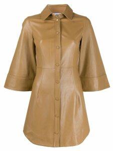 GANNI fitted shirt dress - Brown