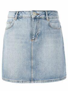 GANNI bleached denim mini skirt - Blue