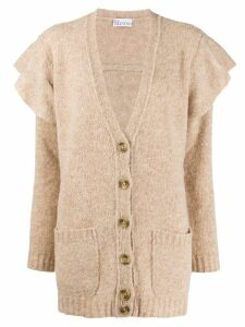 Red Valentino ruffle trim cardigan - NEUTRALS
