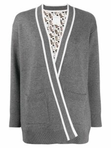 Sandro Paris striped trim cardigan - Grey