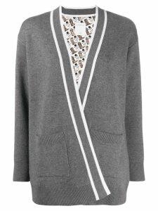 Sandro Paris striped trim cardigan - Grey