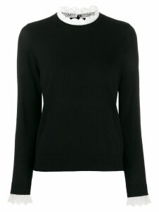 Sandro Paris lace trim knit jumper - Black