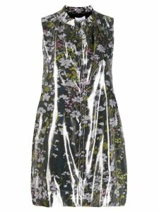 Ganni floral sleeveless blouse - Metallic