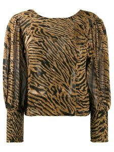 GANNI tiger print blouse - Brown