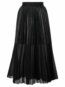Nude faux leather panel pleated skirt - Black