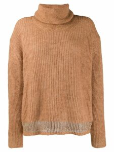 LIU JO contrast-stripe turtleneck sweater - Neutrals