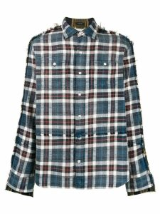 R13 distressed style plaid shirt - Blue