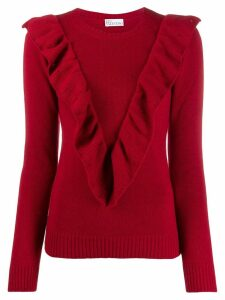 Red Valentino ruffled v jumper