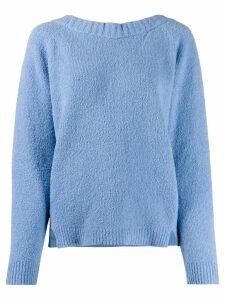 Semicouture scoop-back knitted sweater - Blue