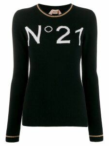 Nº21 logo intarsia jumper - Black