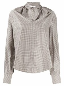 See By Chloé ruffle collar check shirt - NEUTRALS