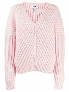 MSGM V-neck knitted jumper - PINK